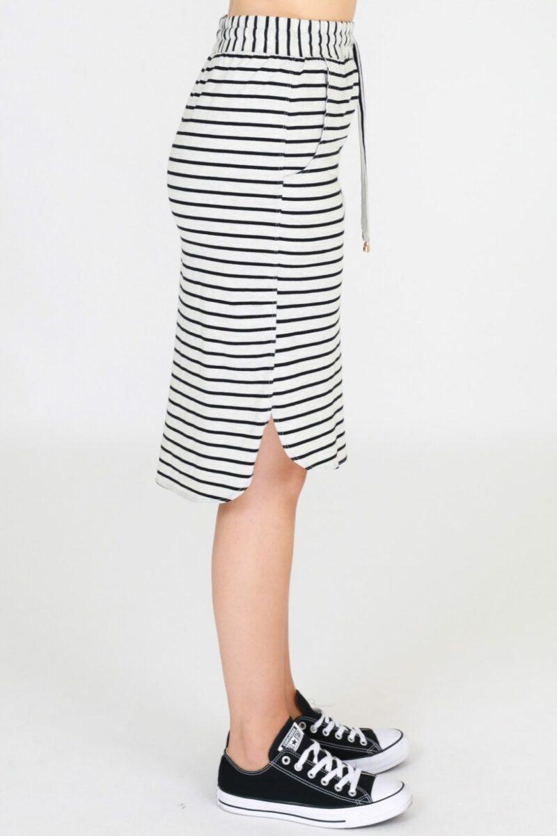 Olivia Skirt Grey Stripe